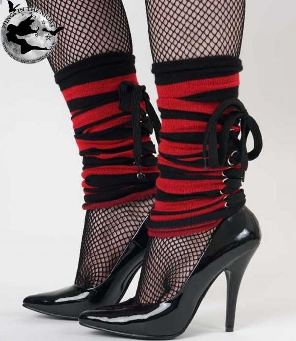 Punk Black and Red Stripe Laced Legwarmers